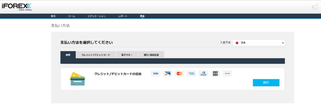iForex クレジットカード入金画面