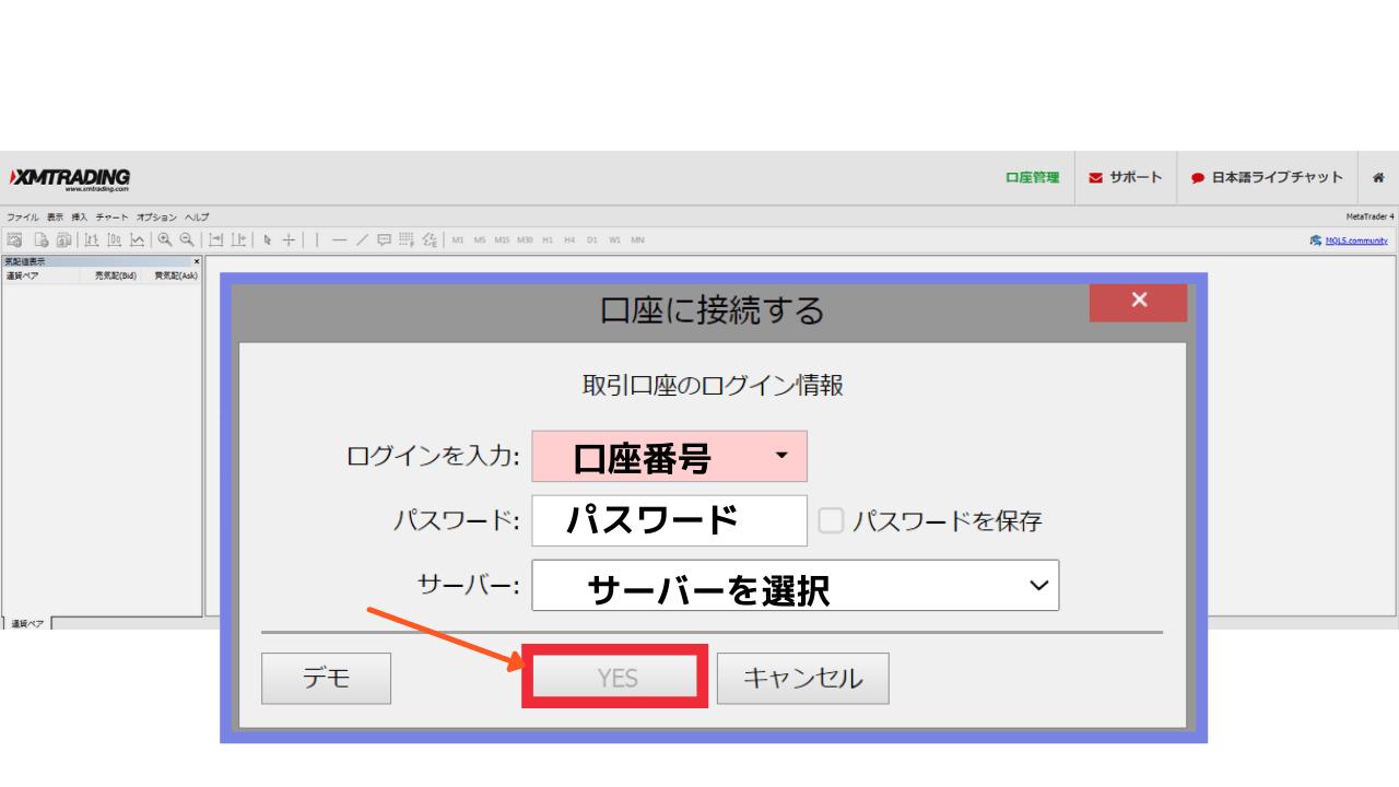 WebTraderログイン画面